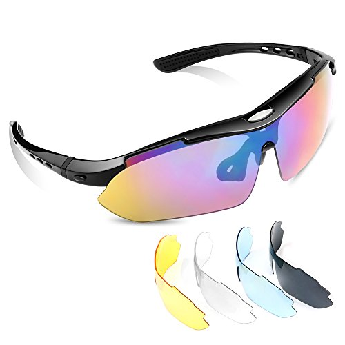d7c857b40b Lonew Polarized Sports Sunglasses with 5 Interchangeable Lenses for Men  Women Baseball Cycling Fishing Driving Golf