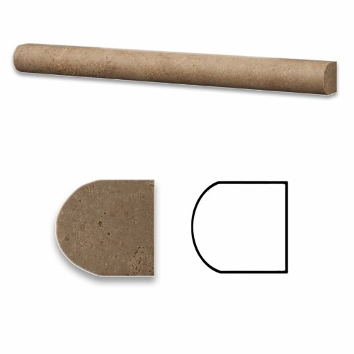Noce Travertine Honed 1 X 12 Dome Liner Trim Molding - Box of 5 pcs.