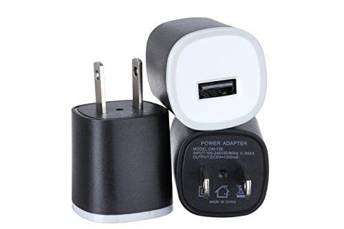 OMNI INC 3PC Universal USB Port [Matte Black] Rapid Speed Power Adapter (Cell Phone Charger Adapter)