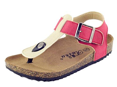 DADAWEN Boy's Girl's Adventure Flip Flops Sandals  Red and A