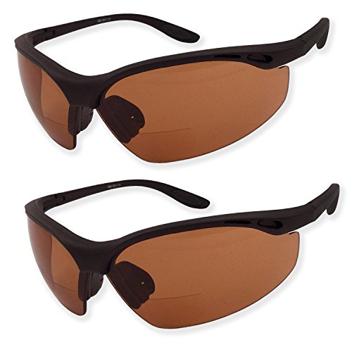 2 Pairs Bifocal Safety Driving Sunglasses with Reading Corner - Rubber Grip Arms (Diopter (Bifocal Reading Safety Sunglasses)