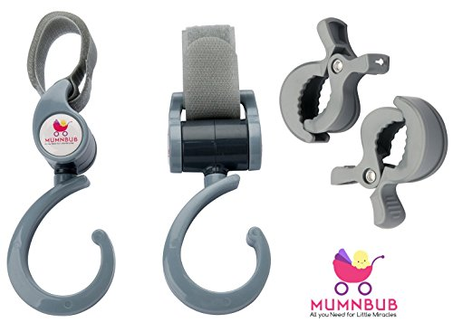 MumnBub Stroller Hook - 2 Pack (Grey) Multi-Purpose Heavy Duty Buggy Clips for Mommy - Universal Fit Perfect Pram Accessories for Hanging Diaper bag, Shopping bag, Groceries -Includes 2 Stroller Pegs by MumnBub (Image #8)