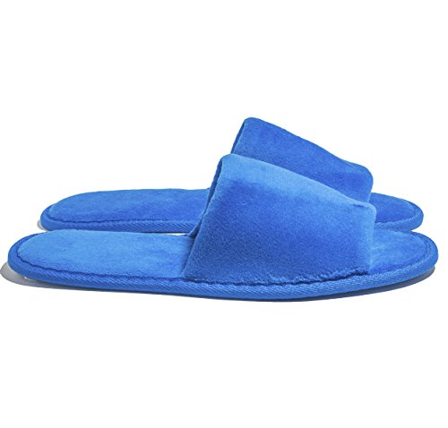 6 One Size Coloured Open Toed Terry Velour SPA Slippers (RoyalBlue) by NkBk (Image #2)
