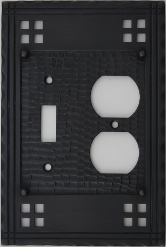 Arts & Crafts Mission Style Oil Rubbed Bronze 2 Gang Switch Plate - 1 Toggle Light Switch Opening 1 Duplex Outlet (Crafts Mission Bronze Finish)