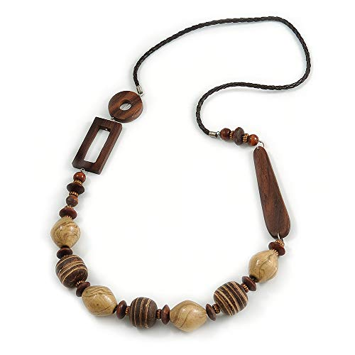Avalaya Chunky Wood Bead with Faux Leather Cord Long Necklace - 90cm L