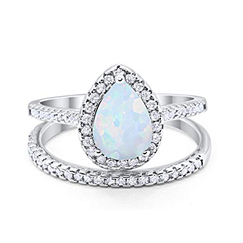 Blue Apple Co. Teardrop Pear Bridal Set Wedding Engagement Ring Band 925 Sterling Silver Round Lab White Opal Cubic Zirconia Size-10