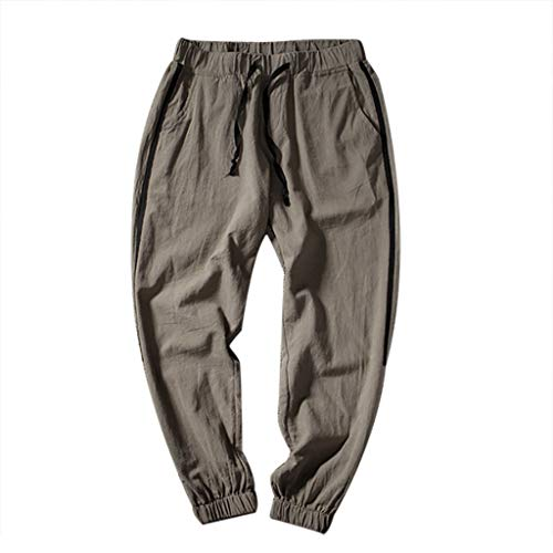 (Men's Pants Casual Cotton Linen Relaxed-fit Trousers Elastic Waist Beam Foot Loose-fit Sweatpants Coffee)