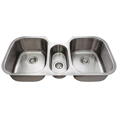 4521 Triple Bowl Stainless Steel Kitchen Sink, 16-Gauge, Sink Only