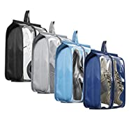 Shoe Bags for Travel - Tinbrot Zipper Storage Organizer Bag Transparent Waterproof Tote Pouch for Men & Women (4 PCS)