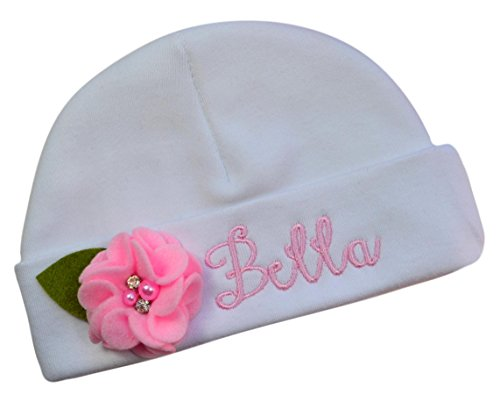 Funny Girl Designs Personalized with Name Embroidered Baby Girl Hat with Sweet Felt Flower (Light Pink)