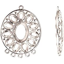 Pendant, Silver Plated 5 Loops Oval Cabochon Setting 47mmx36mm with 11pcs 6x8mm, 1pcs 13x17mm Mount