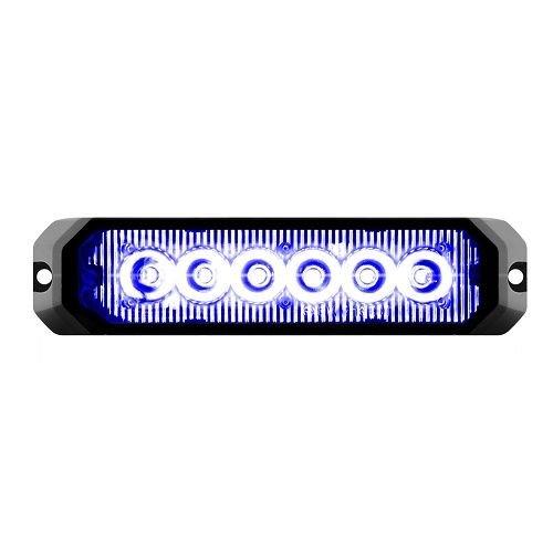 GG Grand General 81816 5 Inch Rect. Blue/Clear 6 Led Strobe Light, 14 Modes, 9~36V