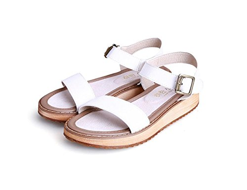 DANDANJIE Sandalias para Mujer Verano Dulce Moda Estudiante Sandalias Zapatos Antideslizantes de Gran tamaño (Negro Blanco Plata 34-43) Zapatos caseros Blanco