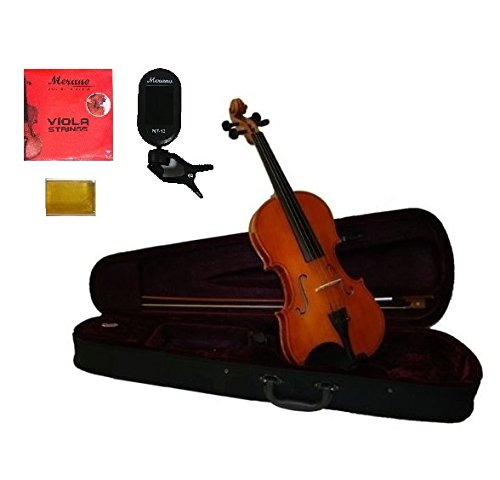 Merano Student 13'' Viola,Case,Bow+Extra Set of Strings+Rosin+Clip-on Tuner ~ Natural by Merano