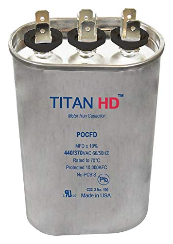 Titan Hd Oval Motor Dual Run Capacitor, 40/5 Microfarad Rating, 440VAC Voltage - -