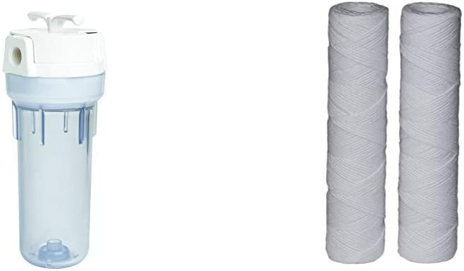 EcoPure EPW2VC Whole Water Filtration System Housing & String-Wound Universal Whole Home Filter (2 Pack)
