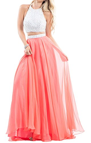 XJLY Sexy Halter Beaded 2 Piece Backless Long Chiffon Prom Dress Evening Gowns 2017