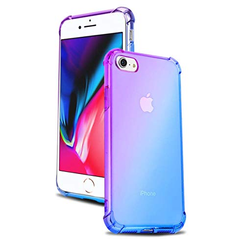 (Airror Phone Case Compatible with iPhone 8 / iPhone 7, Clear Multi-Color Gradients Slim Case, Impact Resistant Protective Flexible Soft TPU Cover [ Support Wireless Charging ] (Blue - Purple))