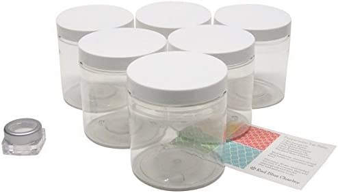 Amazoncom Clear 16 Oz Plastic Jars With White Lids 6 Pk With