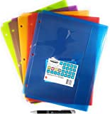 6 Pack Bundle Wilson Jones Student Colors Tabbed Envelope, 20 Sheet Capacity, 3 Hole Punched, 6 Pack (W61062) with Custom AdvantageOP Chrome and Black Retractable Pen