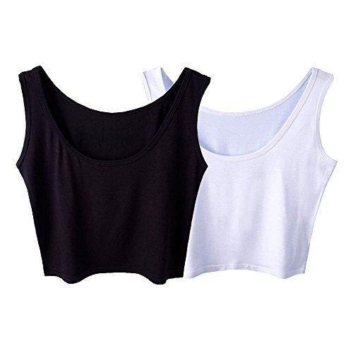 (Micmall Women's Tanks & Camis Camisole Short U-Neck Tight-Fitting Thin Crop Vest White/Black)
