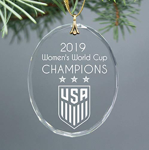 2019 Women's World Cup Soccer Champions USA Christmas Keepsake Oval Ornament