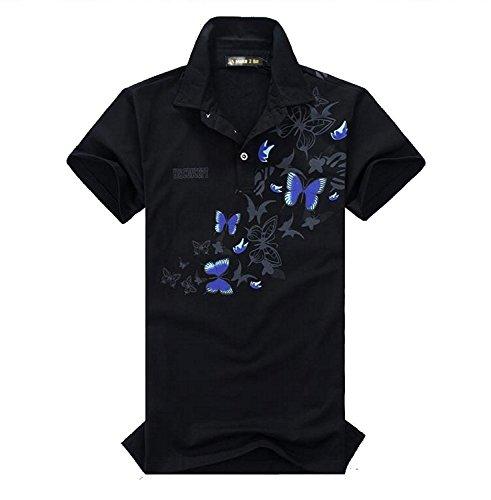 Shengqian(シュヨン チエン )メンズ 蝶柄 乱舞 ポロシャツ 和柄 半袖 カジュアル シャツ ゴルフ ウェア バタフライ