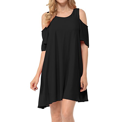 A-line Black Chiffon Halter - Upparel Women's Open Shoulder Floral Print Chiffon Casual Dress -Made in USA (Large, Cold Shoulder- Black)