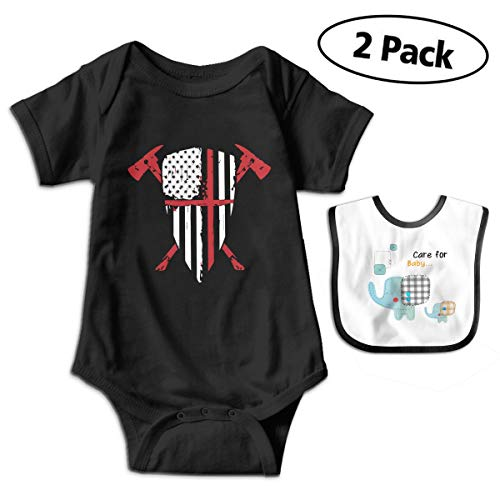 (CZnuen Red Line Crusader USA Flag Shield Crossed Fireman Boys' Bodysuit Newborn Infant Girls' Short Sleeve Climbing Clothes 0-3M)
