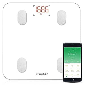 RENPHO Bluetooth Body Fat Scale with IOS and Android APP,Smart Digital Bathroom Scale for Body Weight, Body Fat,Body Water, Skeletal Muscle ,Muscle Mass,Bone Mass, Protein ,BMI,BMR, Metabolic Age, White Color