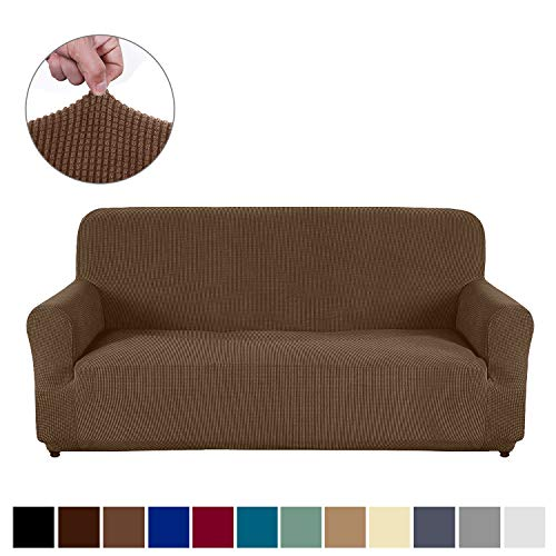 AUJOY Couch Cover Stretch 1-Piece Sofa Slipcover for 3 Cushion Couch Jacquard Spandex Fabric Furniture Protector with Anti-Slip Foams (Sofa, Light Coffee) (Iron Rod Furniture Cushions)
