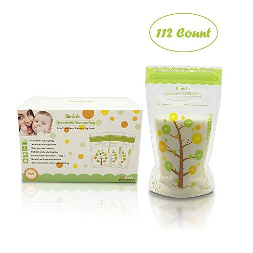 Bimirth Breastmilk Storage Bags, 112 Count BPA Free Convenient Milk Storage Bags for Breastfeeding, Pre-Sterilized, 8oz/235ml, 2 Easy Pouring Spouts & Self-Standing Design