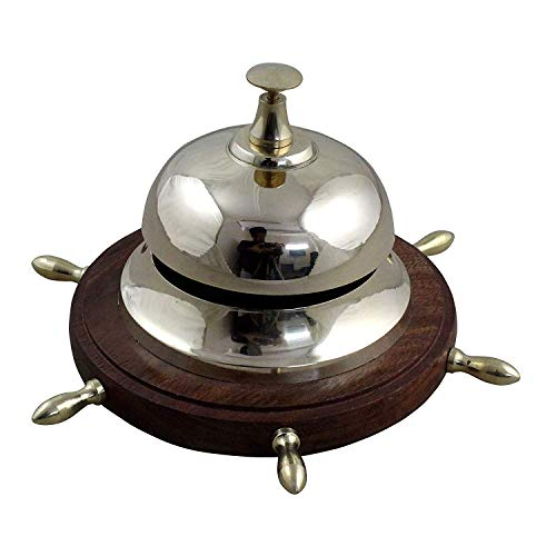 RoyaltyRoute Decorative Desk Bell - Customer Service Bell - Metal Office Call Bell, 6.5 Inches Length