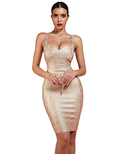 Gold Party Dress - Maketina Women's Rayon Strappy Belt Detail Cocktail Club Bodycon Party Bandage Dress Gold L