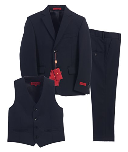 Gioberti Boy's Formal 3 Piece Suit Set, Navy, Size (Dress Suit Blue 3 Piece)