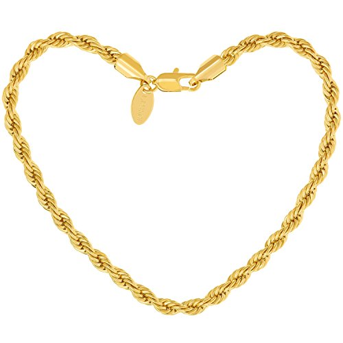 Lifetime Jewelry 5mm Rope Chain Gold Bracelet for Men and Women - Up to 20X More 24k Plating Than Other Plated Bracelets - Great Gift to Mom and Dad or Your Best Friends 7 8 and 9 inches