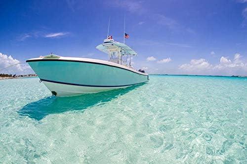 澄んだ海の壁紙の小さなヨット-ビーチの壁紙-#25309 - キャンバス ステッカー 印刷 壁紙ポスター はがせるシール式 写真 特大 絵画 壁飾り105cmx70cm