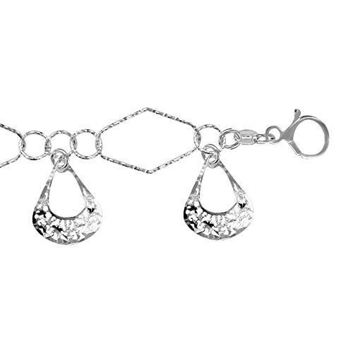 So Chic Bijoux © Bracelet Femme Longueur Réglable: 18 à 20,5 cm Pampilles Gouttes Ciselées Argent 925