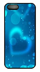 iPhone 5S Case, Abstract Blue Light Heart Background PC Plastic Hardshell Case Cover Protector for iPhone 5s and iPhone 5 Black