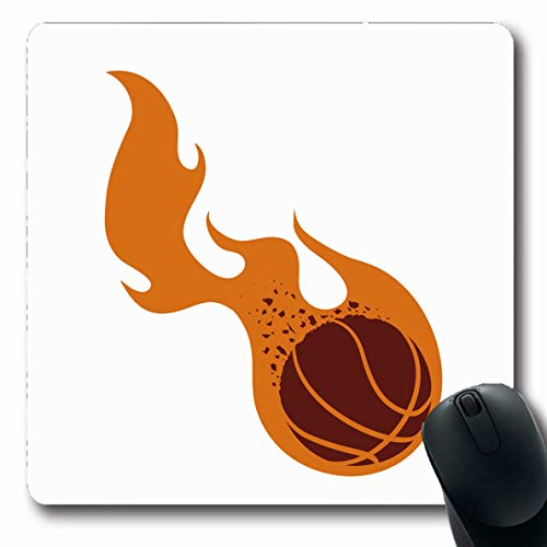 Ahawoso Mousepad Oblong 7.9x9.8 Inches Sport Flame Basketball Represented by Ball Fire Sports Recreation Activity Athletic Championship Office Computer Laptop Notebook Mouse Pad,Non-Slip Rubber