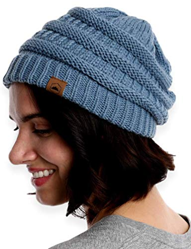 Tough Headwear Cable Knit Beanie - Thick, Soft & Warm Chunky Beanie Hats for Women & Men - Serious Beanies for Serious - Hat Cable Chunky Knit