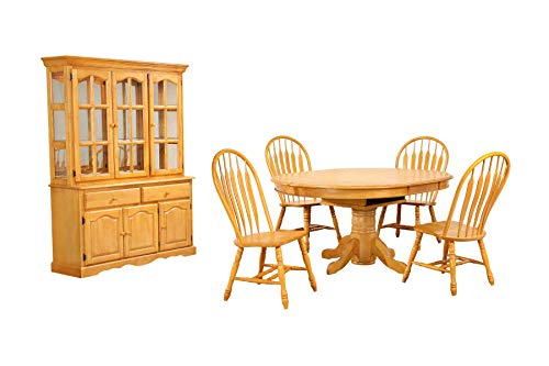 BX4866-4130-22BHLO7PC Oak Selections Dining Table Set, Light Finish ()