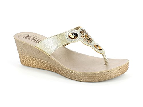 Ladies Womens Gold Everyday Slip Sandal AARZ Super Size On LONDON Lightweight Wear Comfort Casual Summer Shoes Diamante ET55Fw