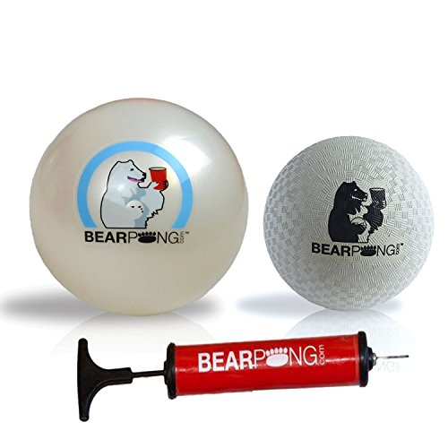 Bearpong Set of 2 Rubber 6'' Beach/ 4''Wind Balls with Pump by Bear Pong