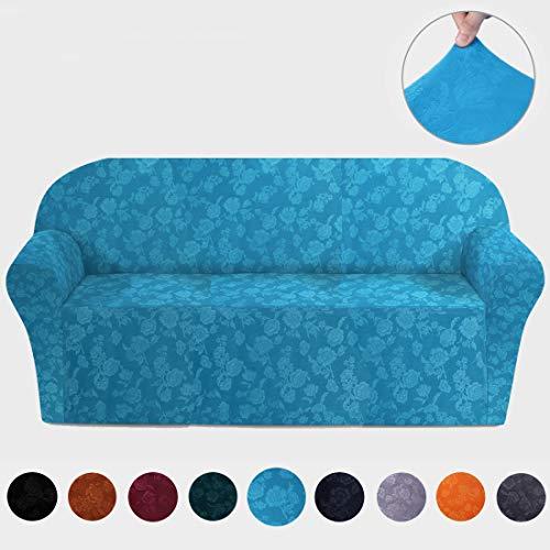 misaya Stretch Sofa Cover - Soft Non-Slip Furniture Protector Velvet Embossing Flower 1-Piece Couch Slipcover for Sofa, Lake Blue