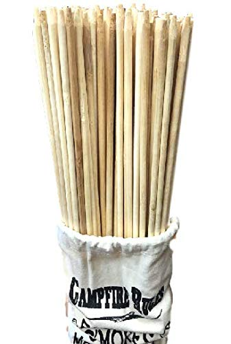 (King Creek Farms Original Campfire & BBQ Marshmallow Roasting Sticks Made from Premium Bamboo Safe Skewers XL 36in, 110 Pieces w/Bonus Bag )