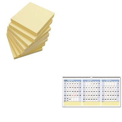KITAAGPM1528UNV35668 - Value Kit - At-a-Glance QuickNotes Three-Month Horizontal Wall Calendar (AAGPM1528) and Universal Standard Self-Stick Notes (UNV35668)