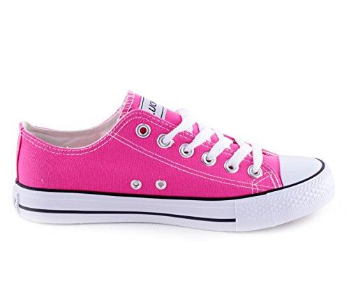 Damen Herren Unisex Canvas Leinwand Sneaker Basic Low Schnürschuh in verschiedenen Farben Größe 36-46 Fuchsia