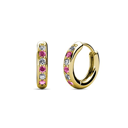 Petite Pink Sapphire and Diamond (SI2-I1, G-H) Huggies Hoop Earrings 0.25 Carat tw in 14K Yellow (0.25 Ct Tw Hoop)