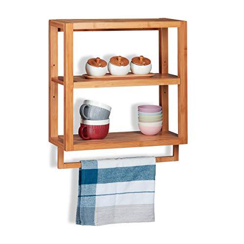 Relaxdays Wandregal Bambus, 3 Ablagen, Handtuchstange, Einlegeboden, Hängeregal für Küche & Bad, HBT 58,5x52x21cm, Natur